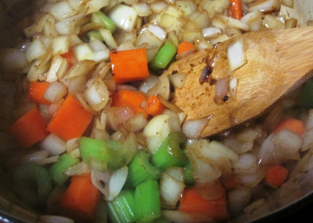 Cook the onions, celery and vegetables in the pan drippings.